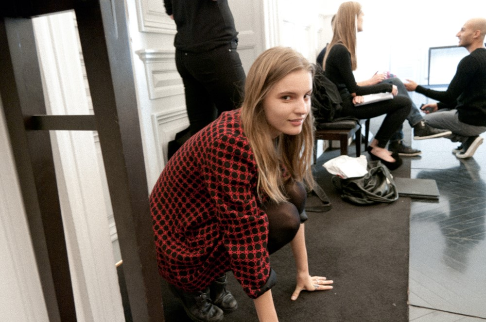 Waiting at Valentino casting for her board photo