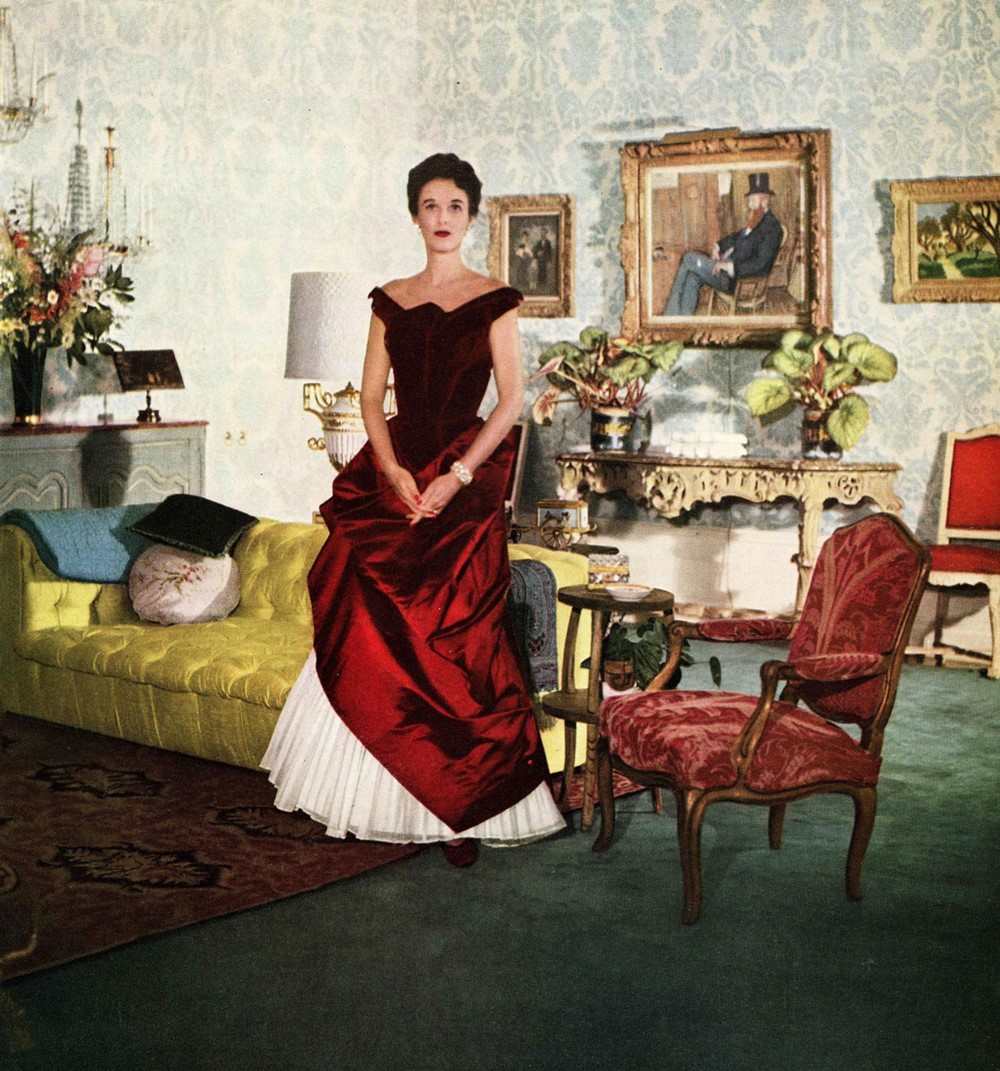 Babe Paley in a crimson James gown, 1950 Courtesy