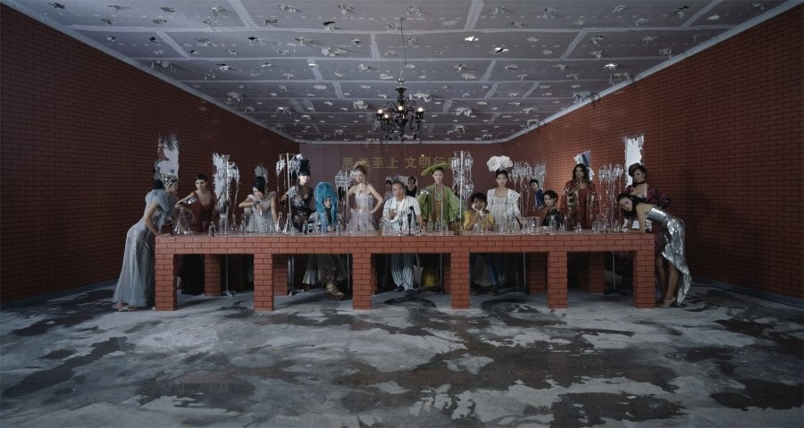 Thirteen People wearing Dior in a 'Last Supper' se