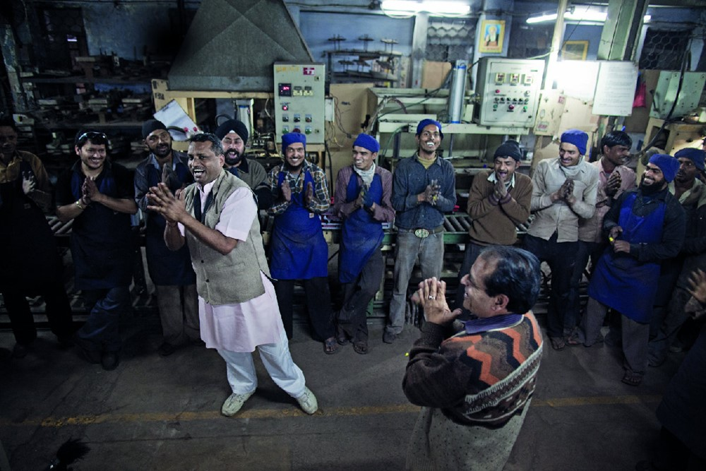 Jiten Kohi, 45, leads a laughter yoga session at S