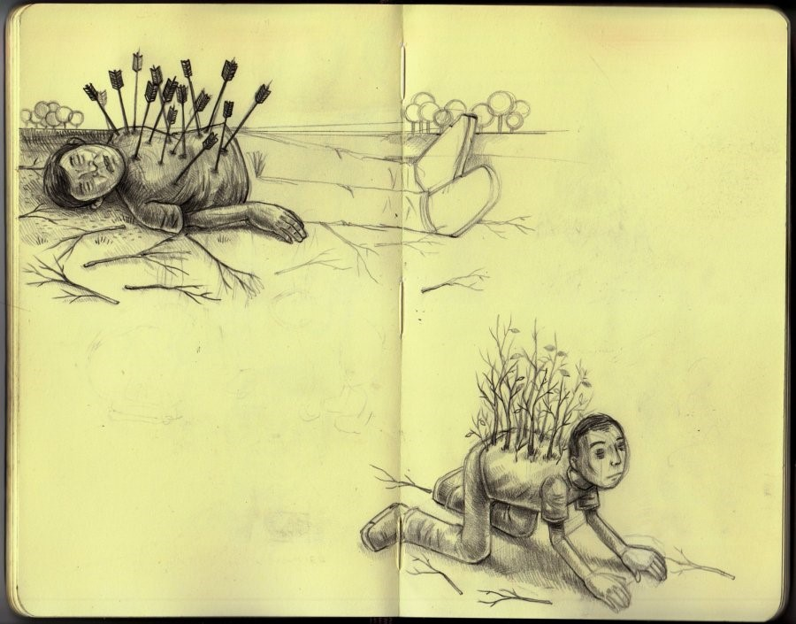"""""""sketchbook page"""" coloured pencil on paper 2008"""