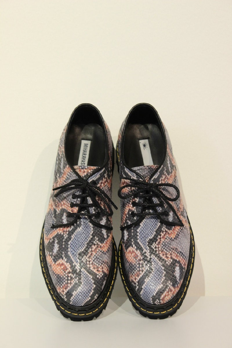 Miharayasuhiro multicoloured snake print shoes.