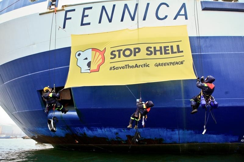 Shell Arctic Drilling Action in Helsinki
