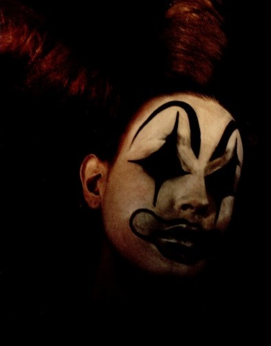 Alexander McQueen's sad clowns backstage for AW01