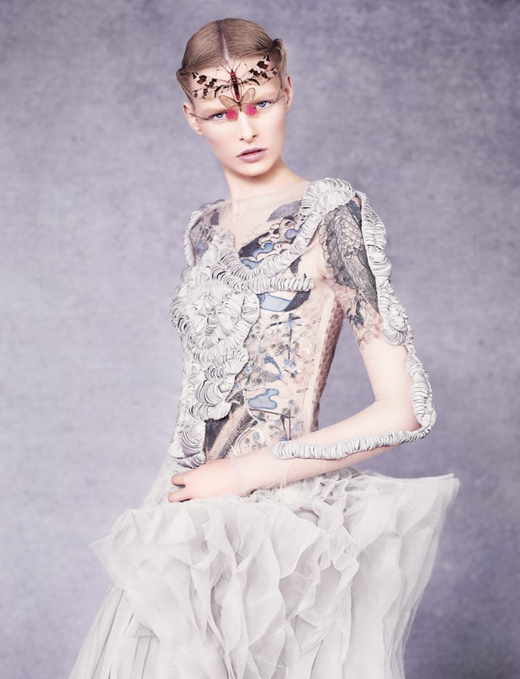 Tulle top and skirt by Yiqing Yin; embroidered dre