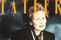 Westwood at thatcher for Tatler's April 1989 cover