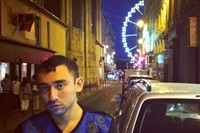 With Nicola [Formichetti] in Paris after a show.