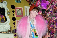 Edward Maler, student wears faux-fur shrug by SIST