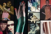 Slinky bracelet modeled by Grace Jones. Polaroids