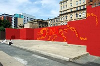 Mock-up of graffiti mural exploring Fire by McFaul