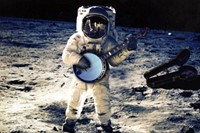 astronaut playing banjo