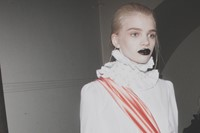 Giles AW15, backstage Dazed, London, Womenswear goth sash