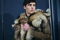 Backstage Dsquared2 menswear fur coat aw15