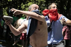 Protest image from Madrid, photo by AFP