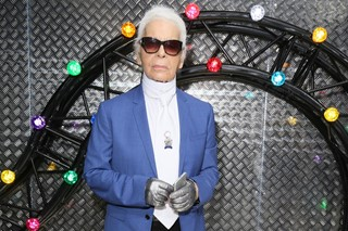 Karl Lagerfeld at Dior Homme's SS17 show