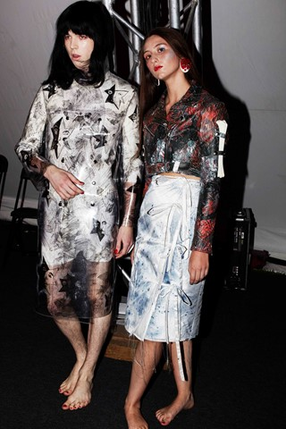 Claire Barrow backstage Fashion East SS14 by Rebec