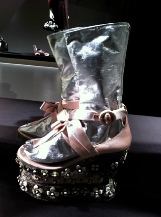 The amazing Prada maiko stacked shoes and metallic