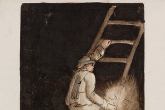 Miner with candle, climbing ladder, c. 1805-1830