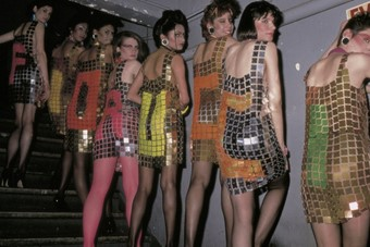 Models wearing curtain dresses during Fiorucci's 1