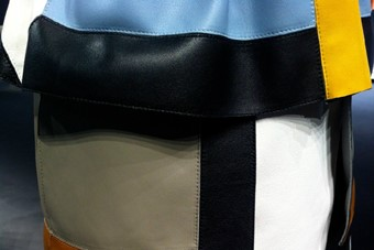 Panelled leather that resembled a modernist painti