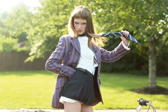 ASHLEIGH WEARS BLAZER BY MIU MIU, SHIRT BY TOMMY H