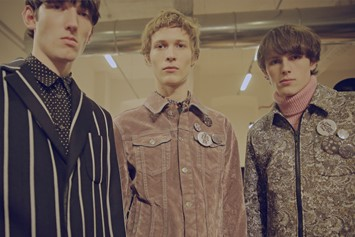 MSGM AW15 70's, badges, stripes, Menswear, Dazed backstage