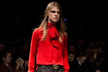 Gucci AW15 red shirt w neck tie, Menswear, Dazed backstage