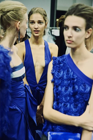 Backstage at Emporio Armani SS15