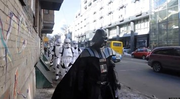 Darth Vader flanked by his Stormtroopers in Ukraine