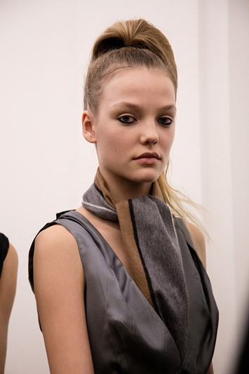Prada AW15, grey dress, Dazed backstage