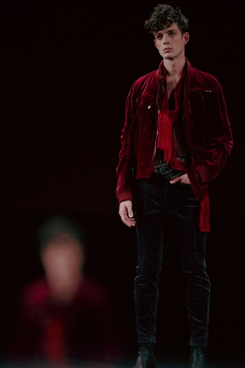 Haider Ackermann AW15 Mens Red Velvet Jacket Zips Scarf