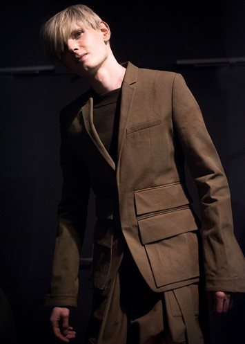 Juun.J AW15 Backstage Dazed Paris Brown Pocket Suit