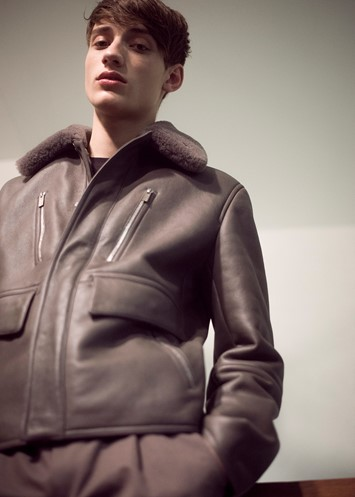 Backstage at Hermès AW15 Brown Leather Jacket Zips Fur