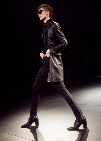 Saint Laurent AW15 Mens Leather Coat Heeled Boots