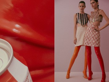 Christian Dior Haute Couture SS15 Vertical Stripe Red Boots