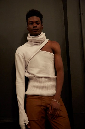 Telfar AW15 Backstage Dazed New York Asymmetric Turtleneck