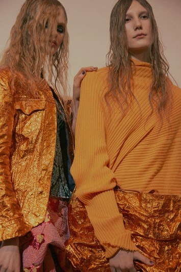 Marques'Almeida AW15 Womenswear Metallic Gold Jacket Yellow