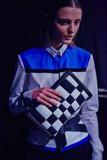 Byblos Milano AW15 Womenswear Dazed Backstage shirt clutch