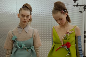 Prada AW15, Dazed backstage, Milan, Womenswear, bright green