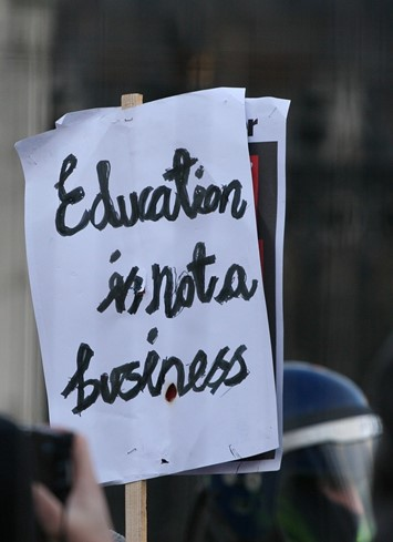 University tuition fees protest sign