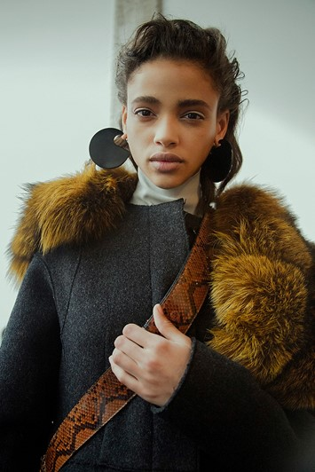 Marni AW15 Dazed backstage Womenswear fur earrings snakeskin
