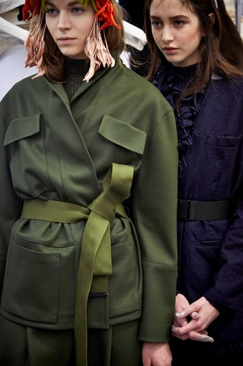 Erika Cavallini AW15 Dazed backstage Womenswear petals coat