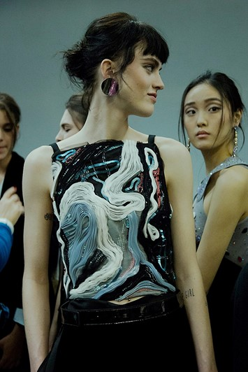 Giorgio Armani AW15 Dazed backstage Womenswear embroidered