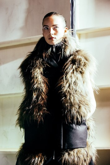 Sacai AW15, Dazed backstage, Womenswear, Paris fur high neck