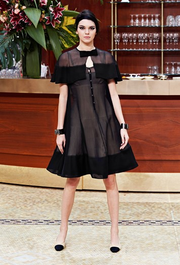 Chanel AW15 Dazed womenswear Kendall Jenner Sheer Black Bow