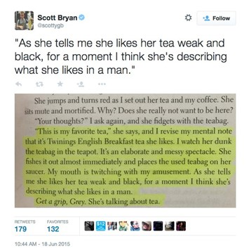 Scott Bryan Twitter screenshot Fifty Shades reading