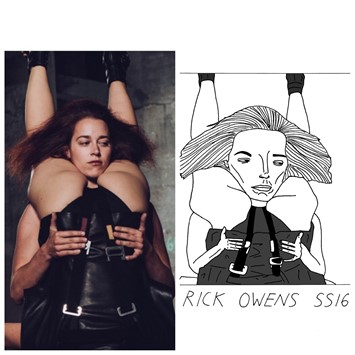 Rick Owens SS16 Badly drawn models