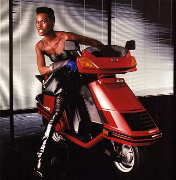 grace jones on a honda scooter