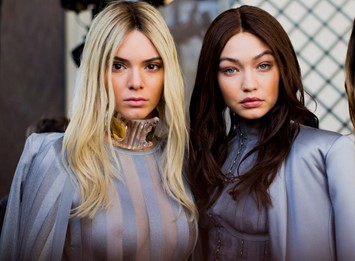 Kendall Jenner and Gigi Hadid backstage at Balmain AW16
