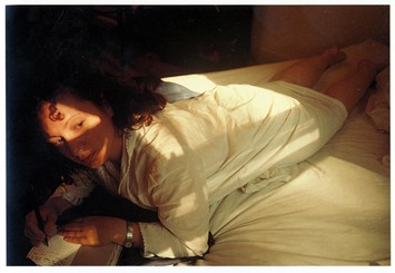 "Nan Goldin ""Self Portrait writing in my diary"", Boston 1989"